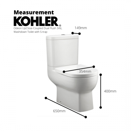 K-76186K-0 Odeon Up Close-Coupled Dual Flush 3/6L Washdown Toilet with S-trap